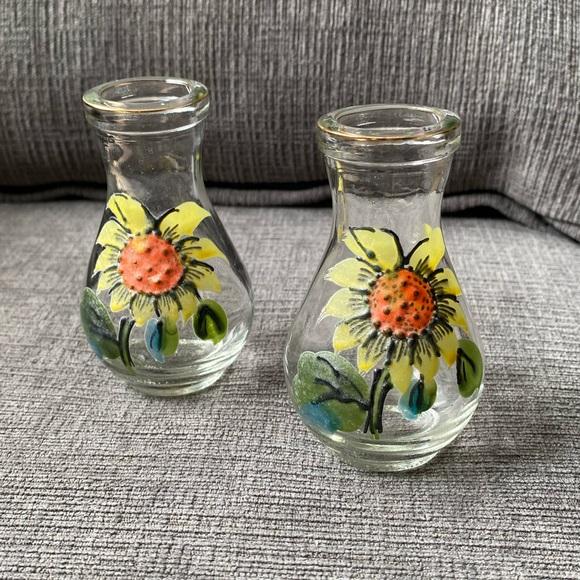 2 Vtg mini hand painted sunflower bottles